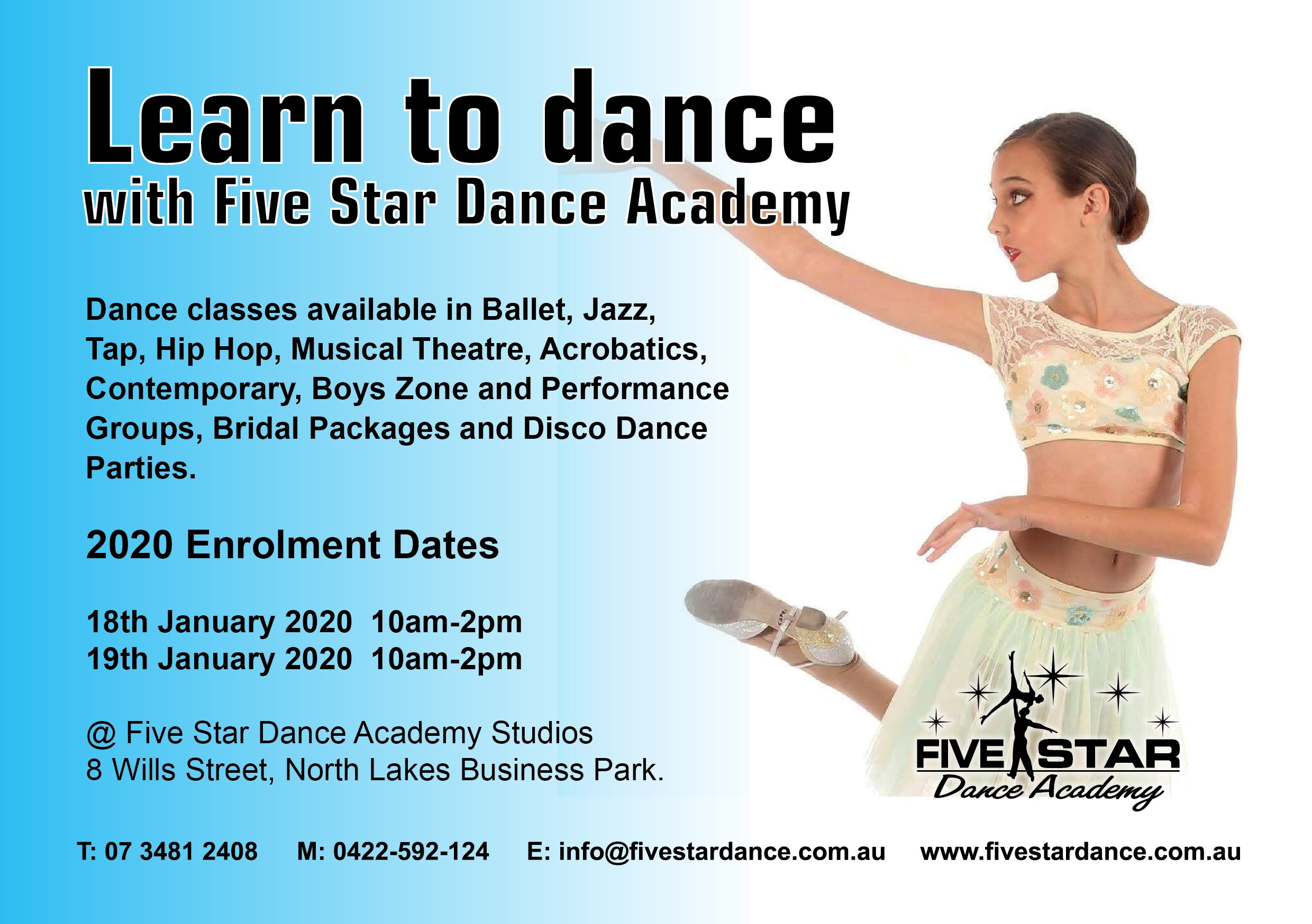 Enrolments 2020 Five Star Dance